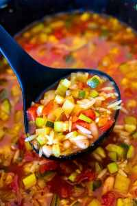 A ladle cooking up Italian Harvest Soup from the crockpot.