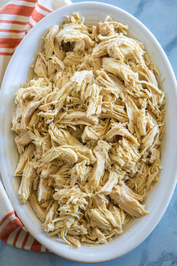 Overhead picture of shredded chicken.