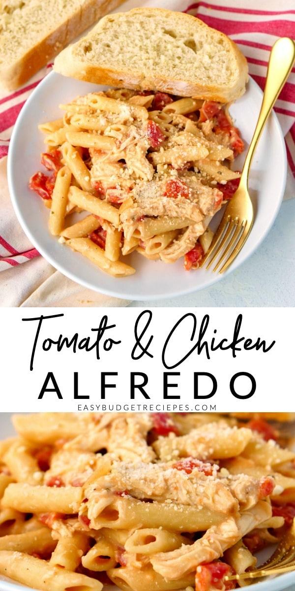 Tomato Chicken Alfredo recipe picture collage for Pinterest.