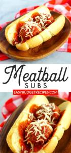 Picture collage of the meatball sandwich for Pinterest.