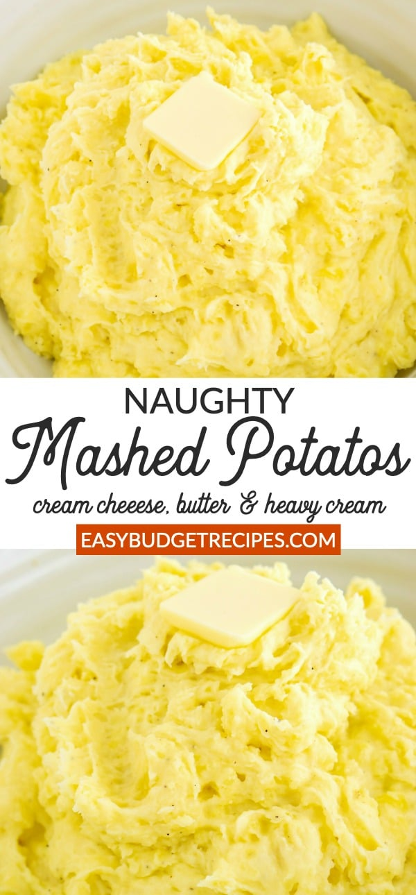Picture collage of naughty mashed potatoes for Pinterest.