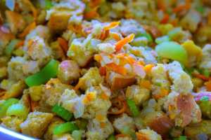 Stuffing before it is baked.