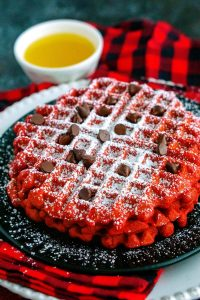 Close up picture of red velvet waffles.