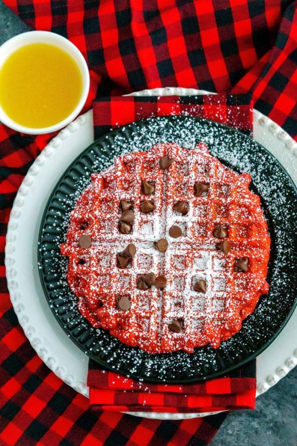 Overhead picture of red velvet waffles.