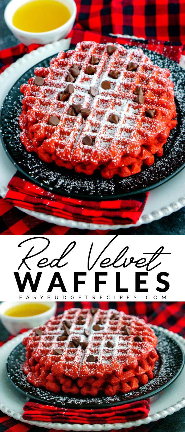 Picture collage of red velvet waffles for Pinterest.