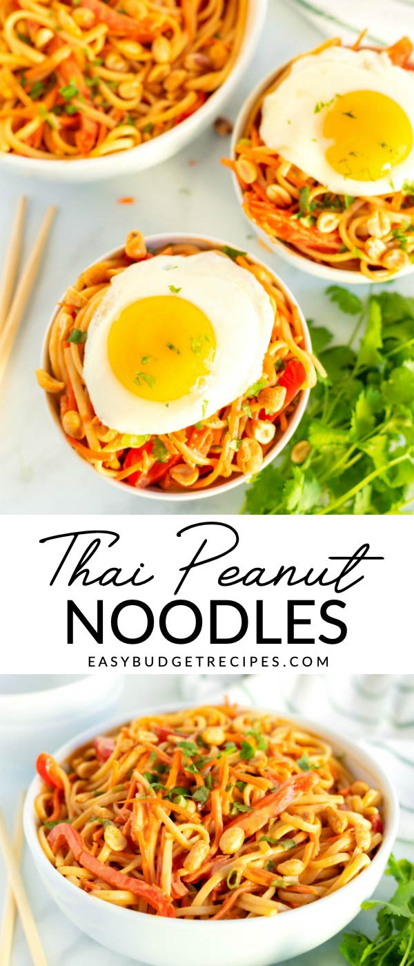 Picture collage of Thai noodles for Pinterest.