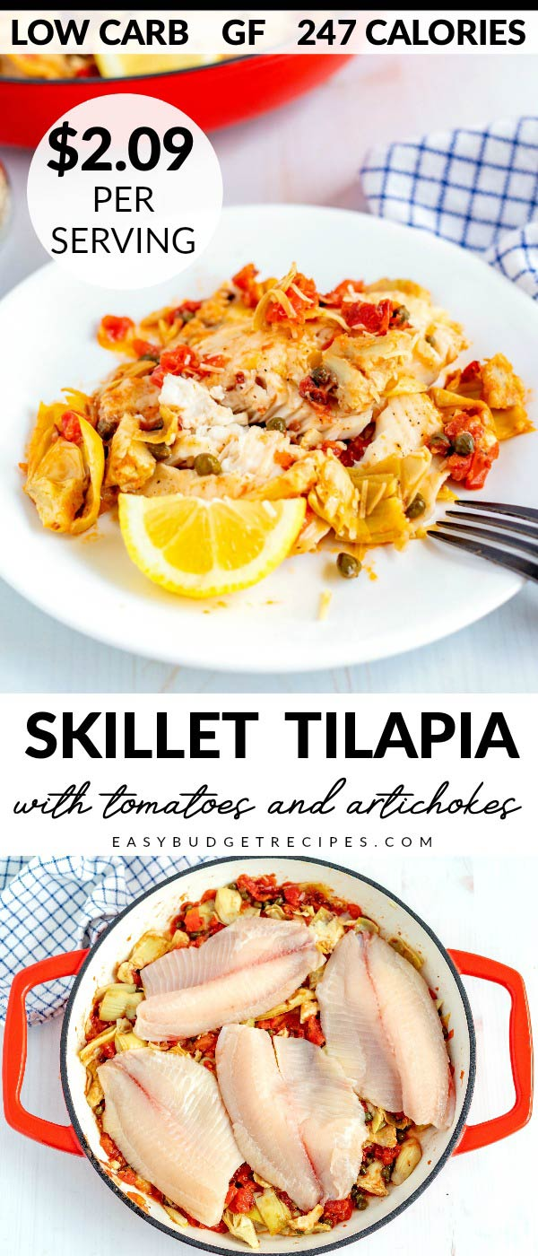 This 15-Minute Skillet Tilapia is easy, delicious, under 250 calories, serves 6 and costs $12.54 to make. Which is just $2.09 per serving! It's also gluten-free, low carb, and Keto-friendly!   via @easybudgetrecipes