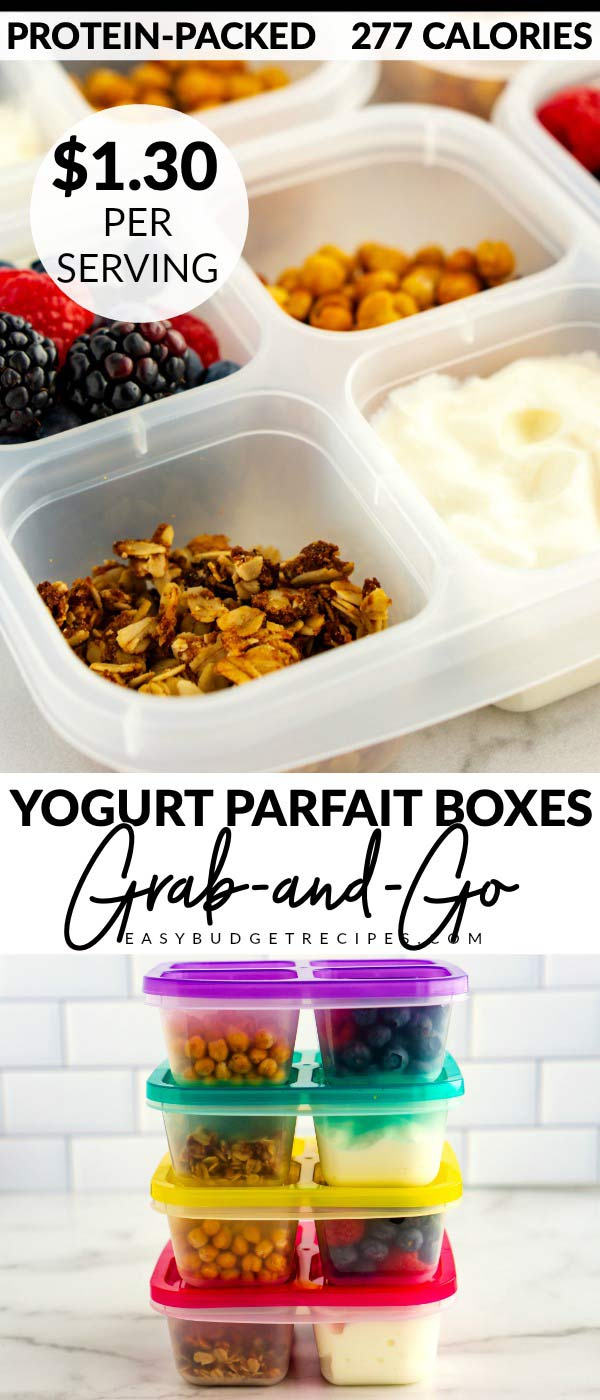 Grab and Go Yogurt Parfait Boxes are a healthy snack or breakfast that's so easy to prep ahead of time. These cost just $7.78 to make or $1.30 per serving. via @easybudgetrecipes