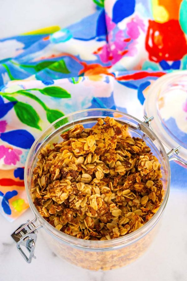 Homemade granola in a clean canister.