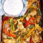 Chicken Fajitas made on a sheet pan.
