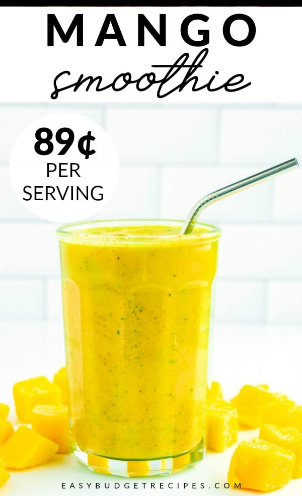 This healthy Mango Banana Smoothie recipe is so easy to make! It takes 5 minutes, serves 6, and costs just $5.31 to make. That's only 89¢ per serving! via @easybudgetrecipes