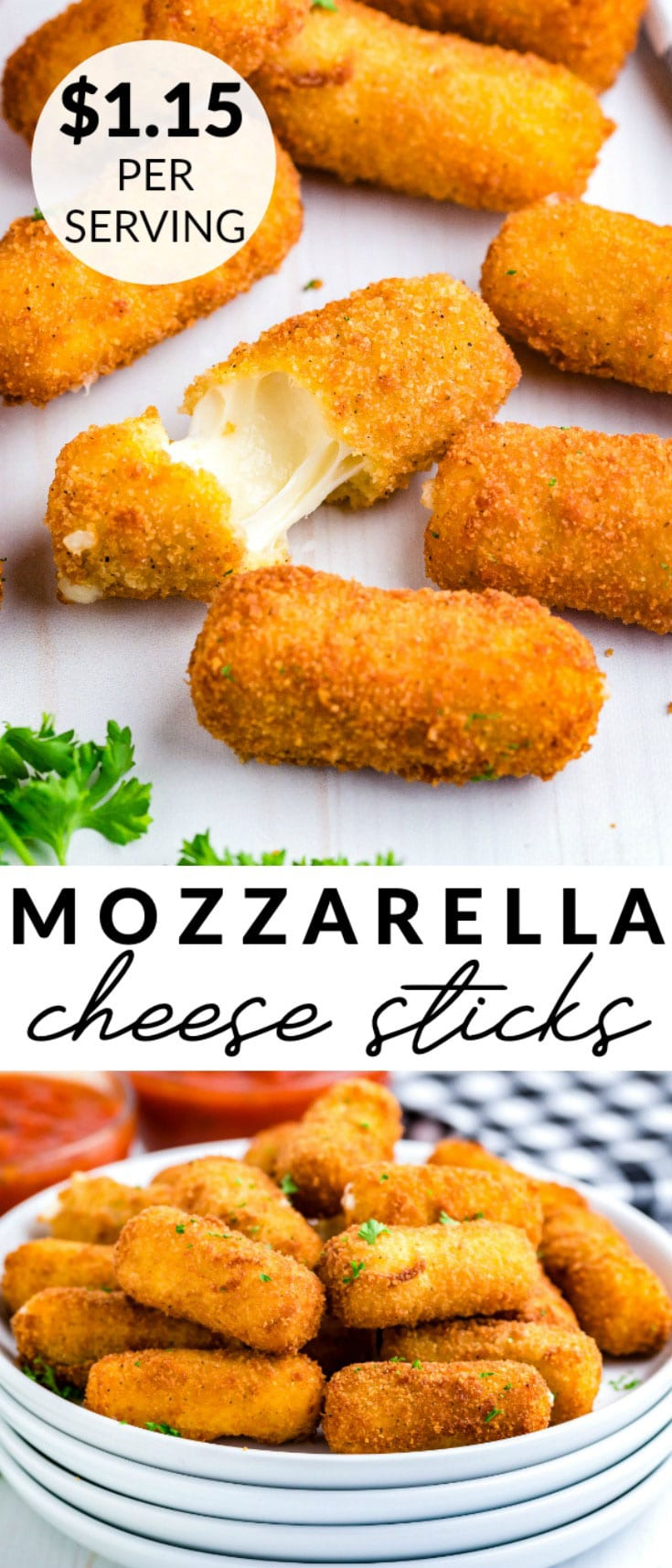These homemade Mozzarella Cheese Sticks are easy to make and feed a hungry crowd. This recipe serves 6-8 and costs $9.19 to make. That's just $1.15 per serving. via @easybudgetrecipes