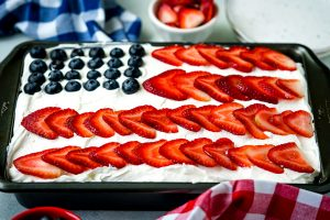 Close up picture of the finished 4th of July Poke Cake.