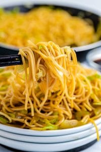 Chopsticks picking up some Copycat Panda Express Chow Mein.