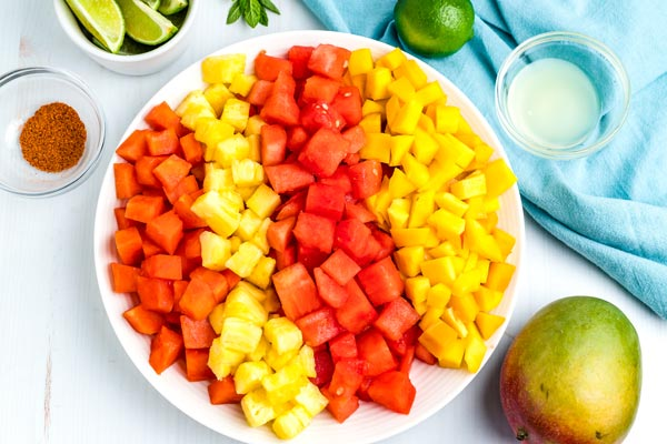 And overhead picture of all of the ingredients needed to make this fruit salad.