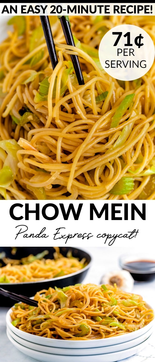This Copycat Panda Express Chow Mein recipe is easy to make and come together in just 20 minutes. The recipe serves 6 and costs $4.26 to make. That's just 71¢ per serving! via @easybudgetrecipes