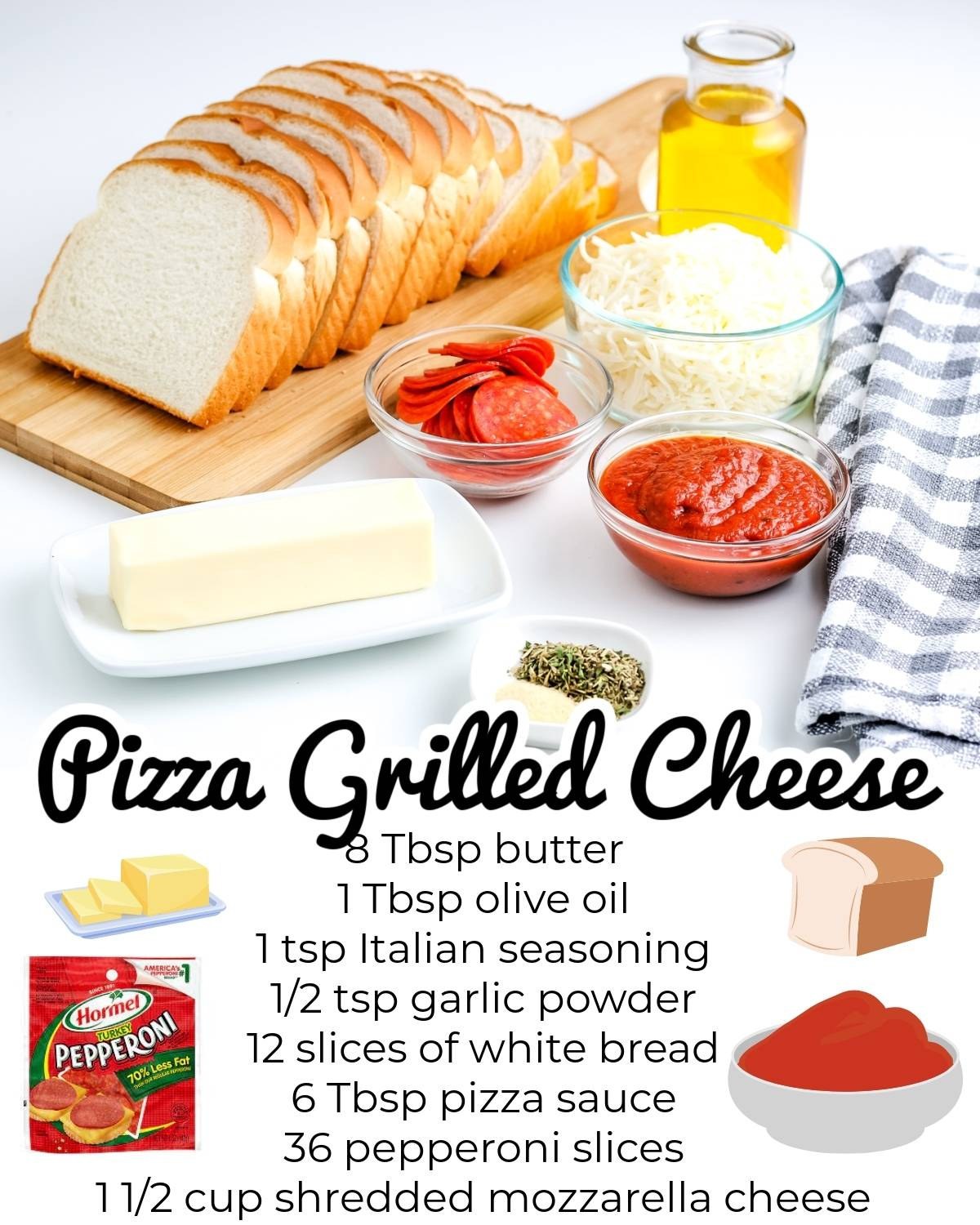 All of the ingredients needed to make this Pizza Grilled Cheese recipe.