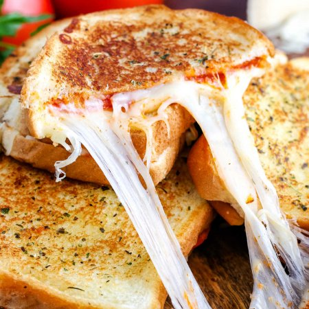 A close up picture of the finished Pizza Grilled Cheese sandwich.