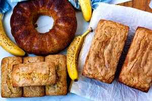 Overhead picture of loaves of banana bread.