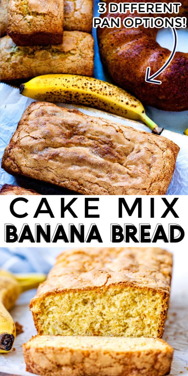 This Cake Mix Banana Bread recipe is easy to make and has the perfect crumb. It can be made in 2 bread pans, 4 mini pans, or a bundt pan. via @easybudgetrecipes