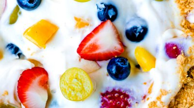 A close up picture of the finished Cheesecake Fruit Salad.