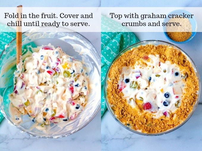 Steps 5 and 6 - Fold the fruit into the cheesecake cream. Chill until read to serve. Right before serving sprinkle with crushed graham crackers and serve.
