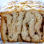A close up picture of inside apple fritter bread.