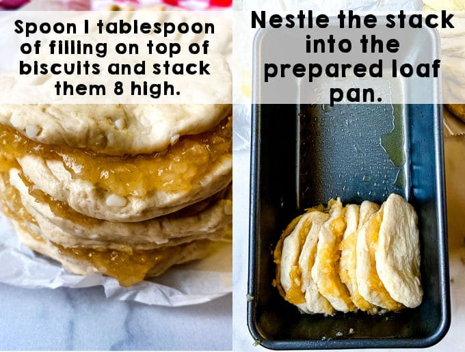 A stack of 8 pieces of biscuit that have been flattened and apple pie filling placed in-between the layers.