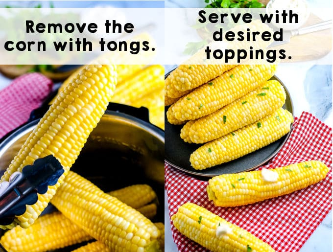 Tongs lifting steamed corn out of the Instant Pot.