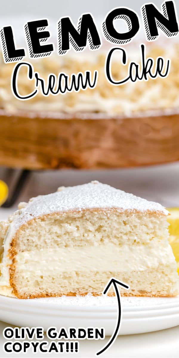 This Copycat Olive Garden Lemon Cream Cake is easy, delicious, and so refreshing. It's one of our favorite desserts, and making the entire cake costs less than a single slice at Olive Garden! via @easybudgetrecipes
