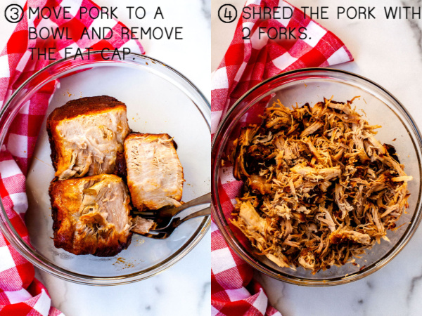 Cooked pieces of pork in a bowl, and a bowl full of shredded pork.