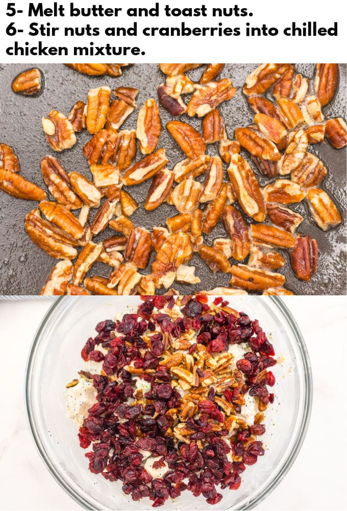 The chicken mixture in a bowl with pecans and dried cranberries.