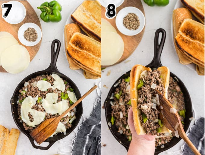 The cheesesteak filling being spooned into toasted submarine rolls.