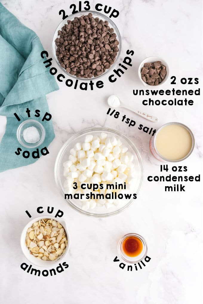 An overhead picture of all of the ingredients needed to make Rocky Road Fudge.