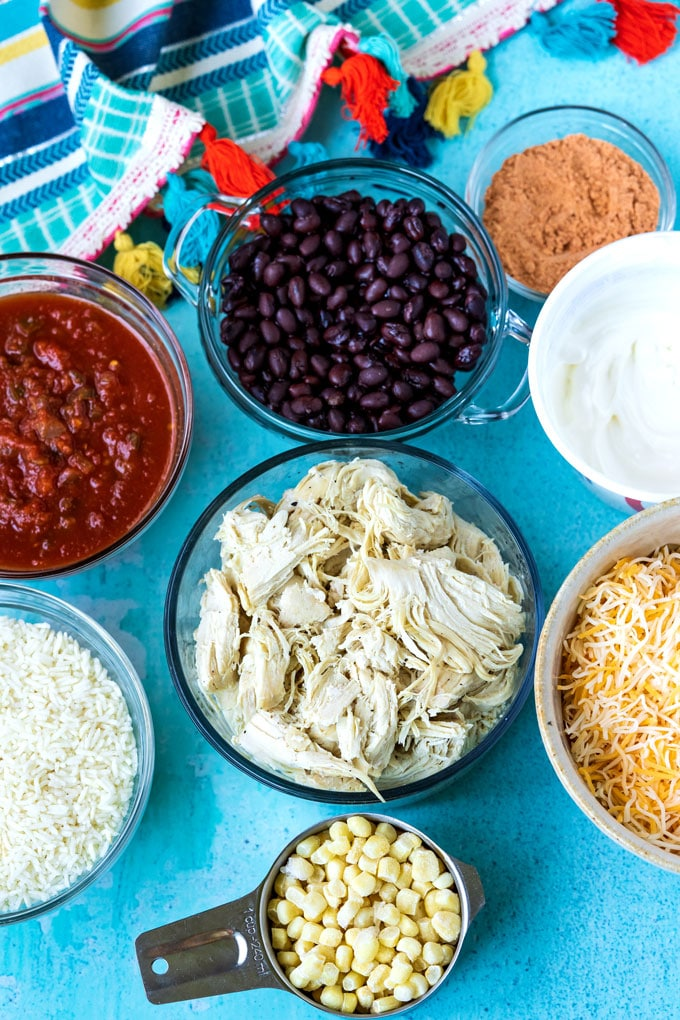 An overhead picture of all of the ingredients to make this casserole.
