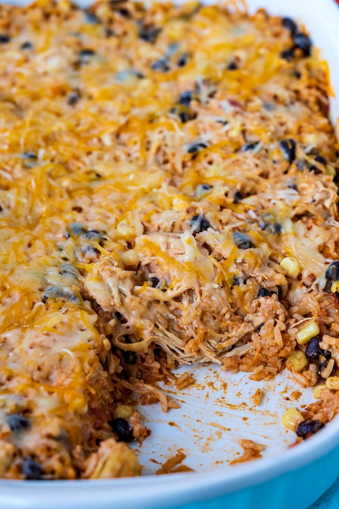 A close up picture of the baked casserole in the 9x13-inch pan.
