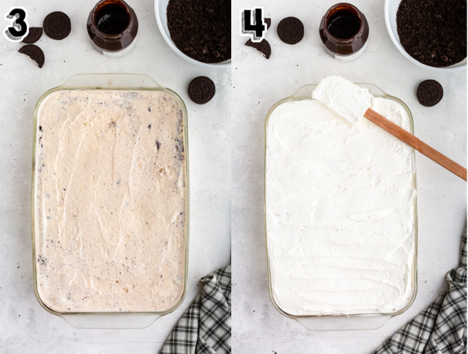 More ice cream and cool whip spread into the pan.