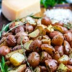 The potatoes garnished with Parmesan cheese.