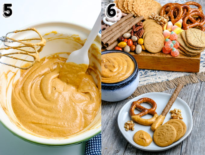 Pretzels, cookies, and nuts that have been dipped into the pumpkin dip.