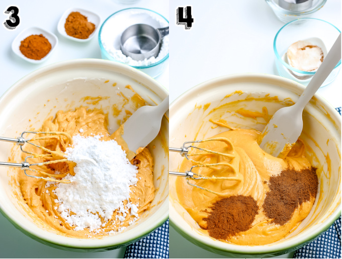 Powdered sugar and spices on top of the cream cheese and pumpkin mixture.
