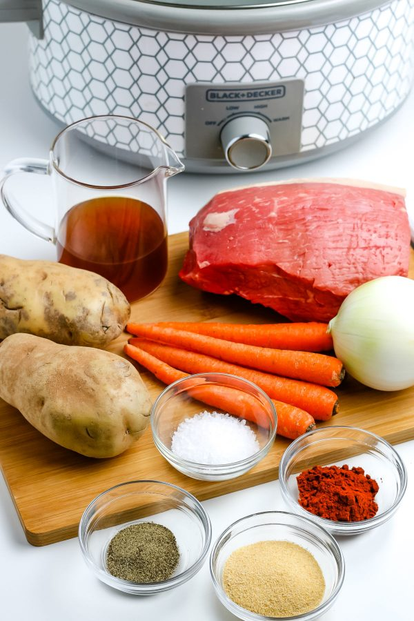 All of the ingredients needed to make Slow Cooker Pot Roast.