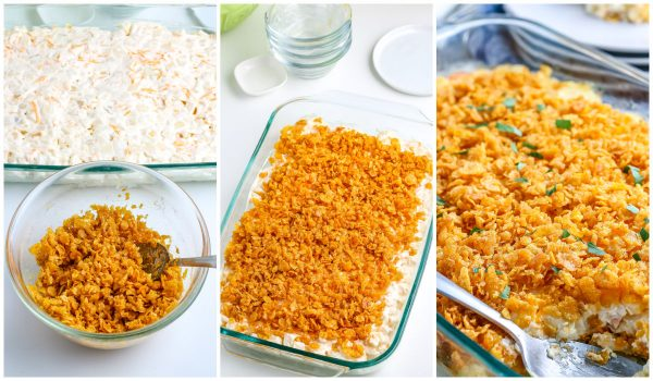 The butter and cornflakes sprinkled on top of the funeral potatoes before they are baked.