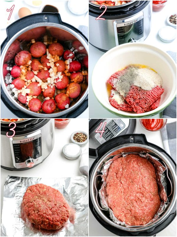 The uncooked meatloaf and potatoes in an Instant Pot.