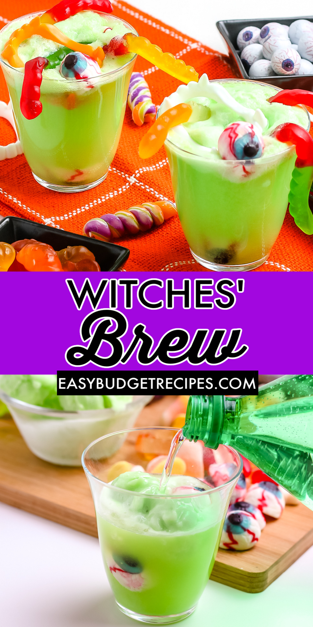 Witches' Brew is the perfect Halloween Drink. It's festive, easy to make, and very customizable. Kids love making these!  via @easybudgetrecipes