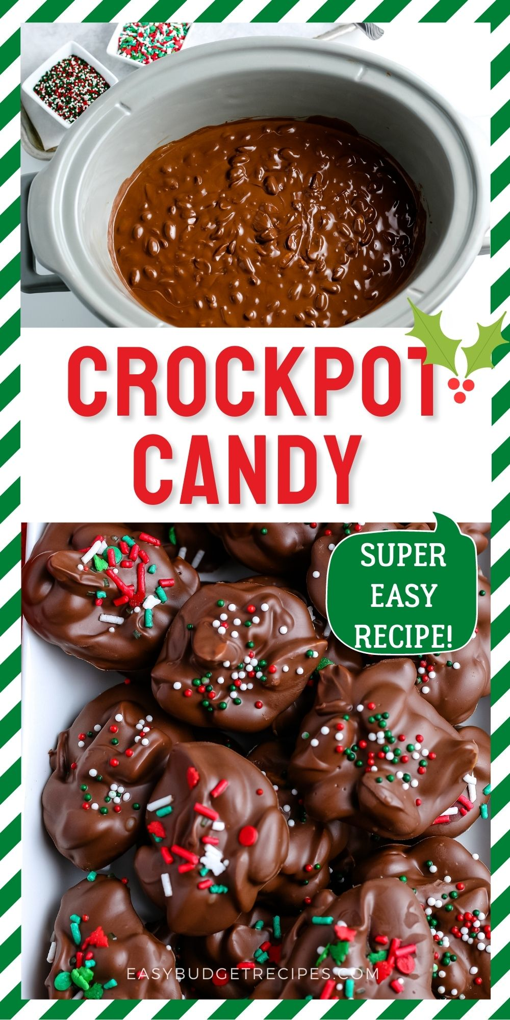 Crockpot Candy is an easy recipe that is perfect for holiday cookie trays and potlucks. Grab the kids because they'll love making this Christmas candy! via @easybudgetrecipes