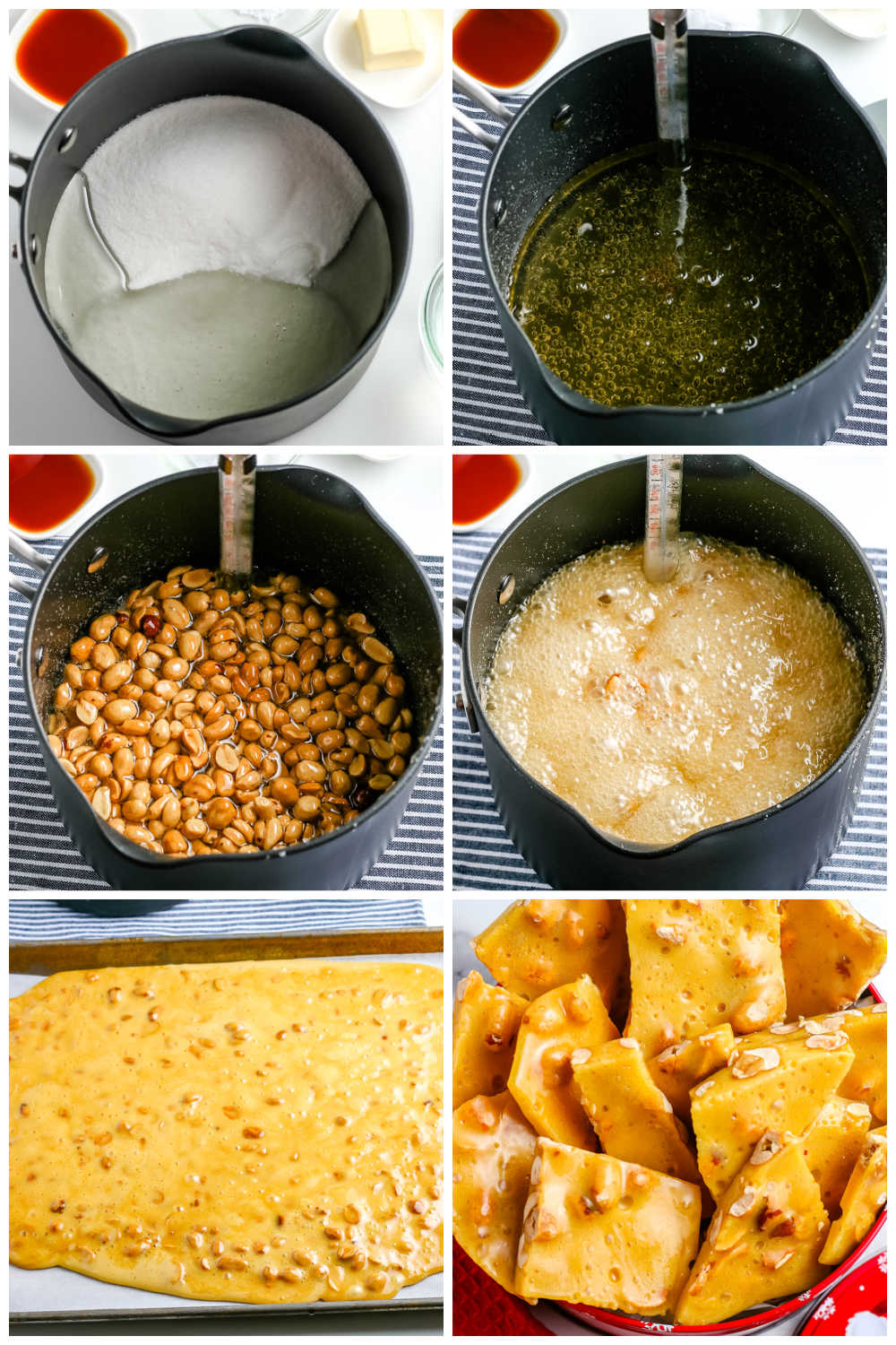 A picture collage of the steps to make homemade peanut brittle.