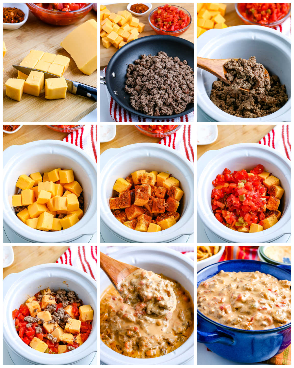 A picture collage of how to make Chile Con Queso.