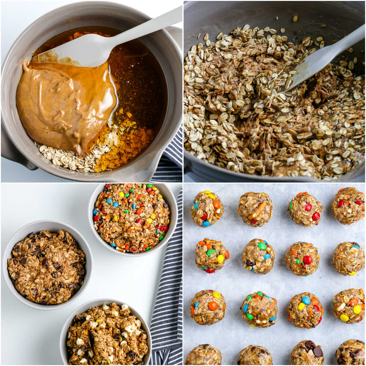 A picture collage of how to make Energy Balls.