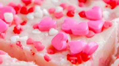 A close up picture of slices of Valentine's Day Fudge.