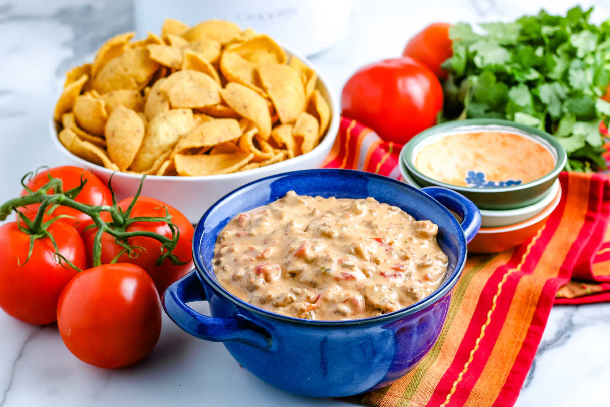 The finished Crockpot Chile Con Queso in a serving bowl.